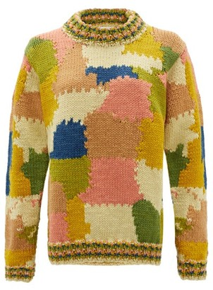 Ssōne Ssone - Greenham Patchworked Organic Merino-wool Sweater - Womens - Multi