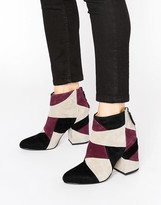 Senso Jessica Wine Leather Patchwork Heeled Boots