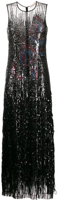 Emilio Pucci floral motif sequin gown