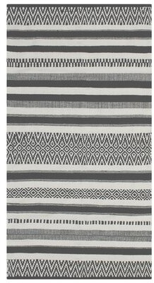 French Connection Anwar Southwestern Handmade Flatweave Cotton Gray Area Rug Rug Size: Rectangle 3' x 5'
