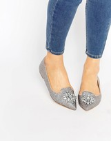 London Rebel Jewel Trim Point Slipper Shoes