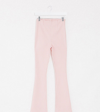 Collusion flare trouser in pink gingham