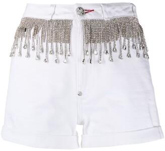 Philipp Plein Crystal Fringe-Embellished Denim Shorts