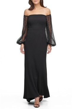 Eliza J Petite Off-The-Shoulder Embellished-Sleeve Gown