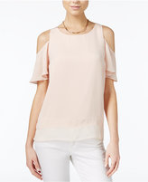 Bar III Flutter-Sleeve Cold-Shoulder Top, Only at Macy's