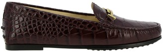 Tod's Tods Loafers City Double T Loafers In Crocodile Print Leather With Tods Gommini