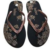 Dona Michi Leather Women Beach Flip Flop Thong Sandal with flower Print/Glitter Straps__6