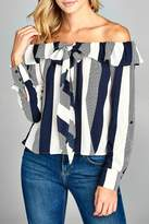 Minx Striped Shoulder Blouse