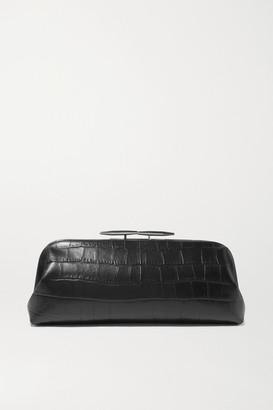 Little Liffner Oyster Croc-effect Leather Clutch - Black