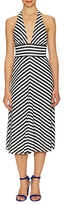 Milly Cotton Stripe Back Tie Midi Dress