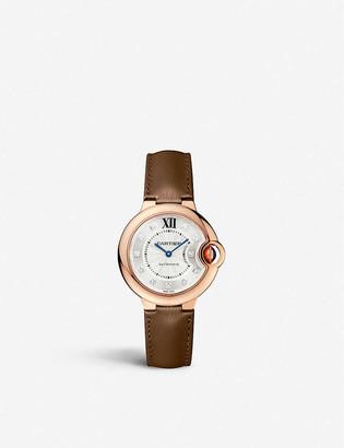 Cartier WE902028 Ballon Bleu de rose-gold, diamond, sapphire and leather watch