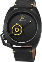 Shark Men's Minimalism Date Display Black Crazy Horse Leather Strap Analog Quartz Wrist Watch SH449