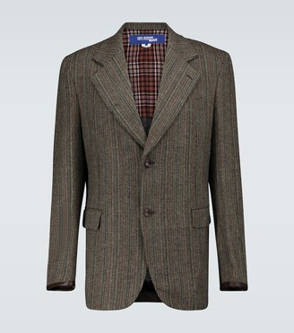 Junya Watanabe Wool tweed blazer with leather trim