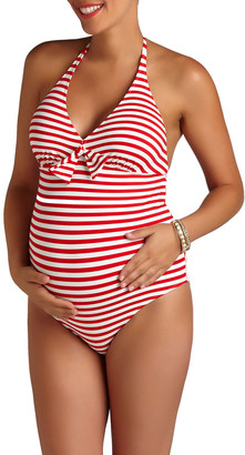 Pez D'or Maternity Striped Halter-Neck One-Piece Swimsuit