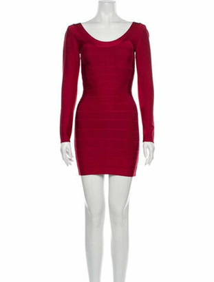 Herve Leger Scoop Neck Mini Dress Red