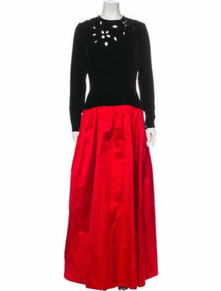 Givenchy Crew Neck Long Dress Red