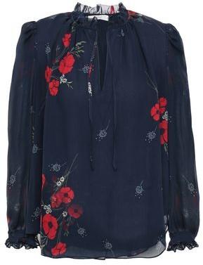 Joie Rafaella Ruffle-trimmed Floral-print Silk-georgette Blouse