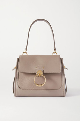 Chloé Tess Day Small Smooth And Textured-leather Shoulder Bag - Gray