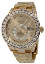 Rolex Sky-Dweller 18K Yellow Gold Champagne Arabic Dial Diamond 42mm Watch