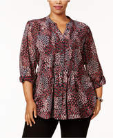 Style&Co. Style & Co Plus Size Printed Pintucked Blouse, Created for Macy's