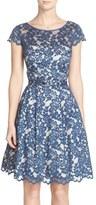 Eliza J Belted Lace Cap Sleeve Fit & Flare Dress (Regular & Petite)