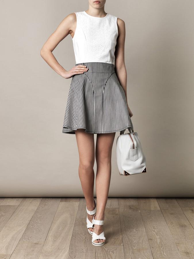 Tibi Striped-denim A-line skirt