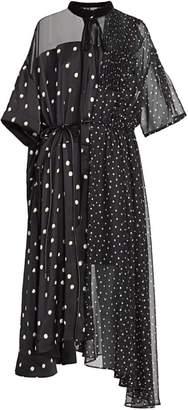 Sacai Mixed Polka Dot Chiffon Dress