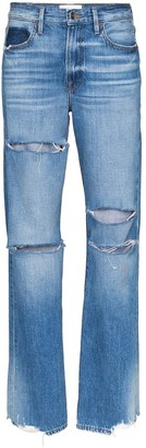 Frame x Imaan distressed straight-leg jeans