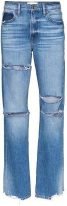 Frame x Imaan distressed straight-leg jeans