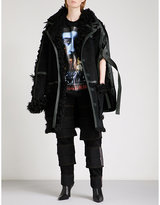 Y/Project Leather-trim shearling and suede coat