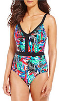 Jantzen Tropic Nights V-Neck Tummy Control One-Piece