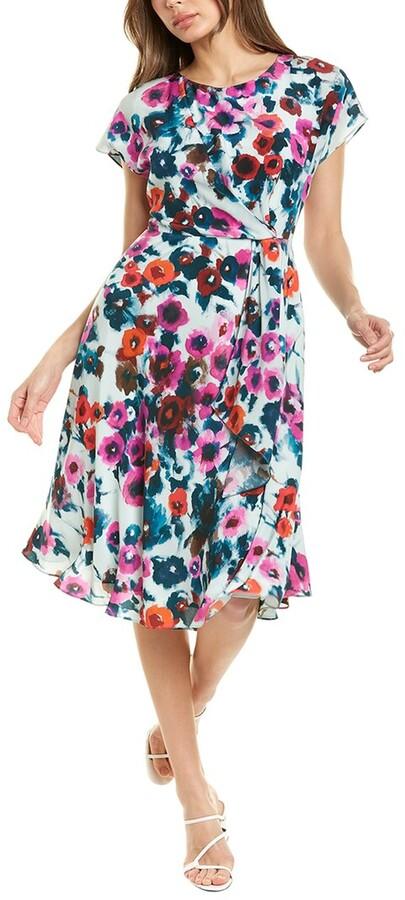 St. John Painted Blossoms Silk Midi Dress