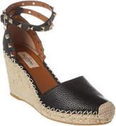 Valentino Rockstud 80 Grainy Leather Wedge Sandal