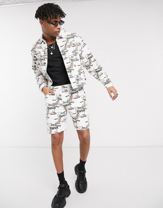 One Above Another co-ord shorts with graffiti in white