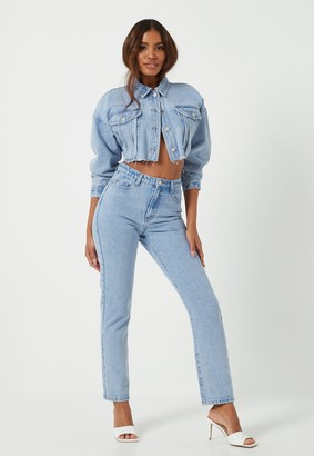 Missguided Light Blue Co Ord Wrath Highwaisted Straight Jeans
