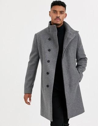 ASOS DESIGN funnel neck wool mix jacket in grey