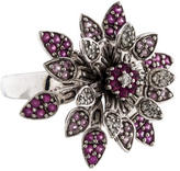 Effy Jewelry 14K Pink Sapphire & Diamond Flower Spinner Ring