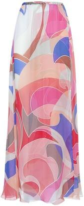 Emilio Pucci Printed Silk Chiffon Long Skirt