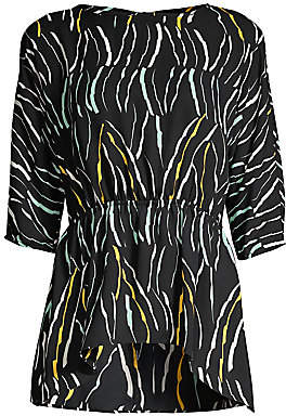 Donna Karan Women's Abstract Peplum Tunic Top