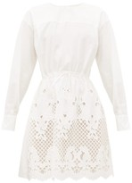 See by Chloe Broderie-anglaise Cotton-poplin Dress - Womens - White