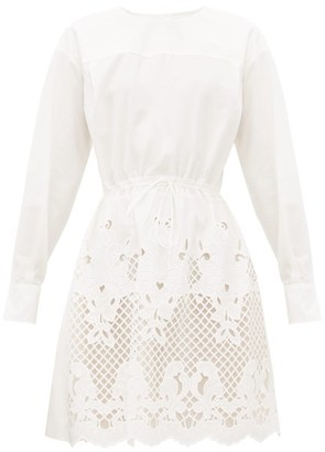 See by Chloe Broderie-anglaise Cotton-poplin Dress - White