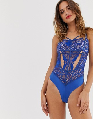 Hunkemoller Asset lace cut-out bodysuit in blue