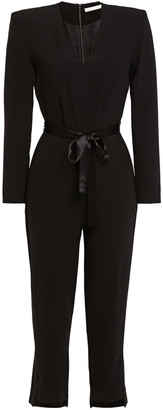 Maje Satin-trimmed Stretch-crepe Jumpsuit