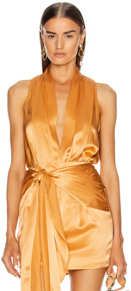 Mason by Michelle Mason Pleat Halter Bodysuit in Apricot   FWRD