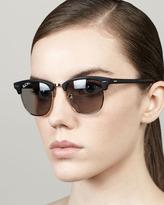 Ray-Ban Polarized Matte Clubmaster Sunglasses, Black
