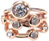 Nana Silver Bubble Mother's Ring - 1 to 7 Stone - Rose Gold Plated- Size 6