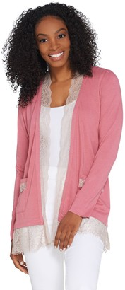 Logo by Lori Goldstein Cotton Modal Open Front Cardigan w/Lace