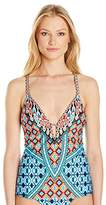 Kenneth Cole New York Women's Tribe Vibes Cross-Back V-Neck Swimsuit Tankini Top
