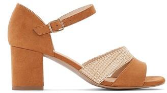 Anne Weyburn Suede Block Heel Sandals with Strap