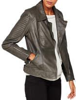 Mint Velvet Leather Biker Jacket, Khaki